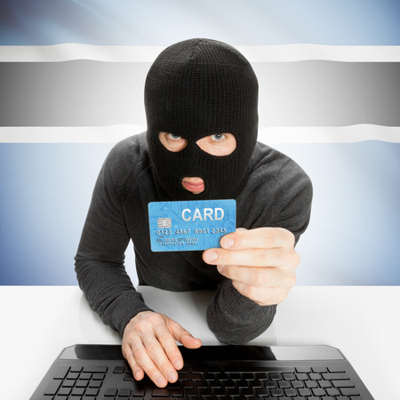 botswanan: Cybercrime concept with flag - Botswana Stock Photo