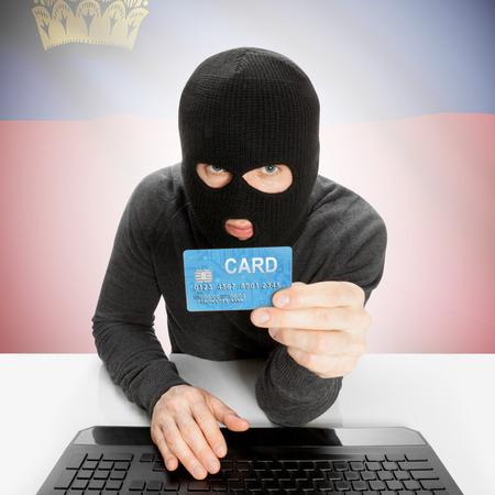 liechtenstein: Cybercrime concept with flag - Liechtenstein Stock Photo