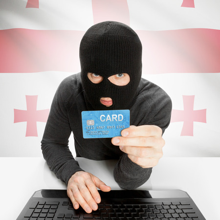 cybercrime: Cybercrime concept with flag - Georgia