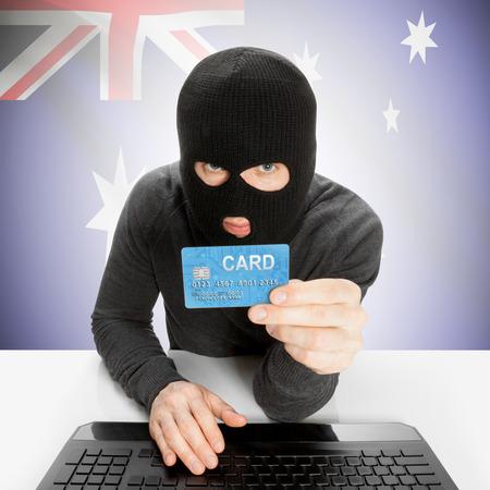 cybercrime: Cybercrime concept with flag - Australia Stock Photo