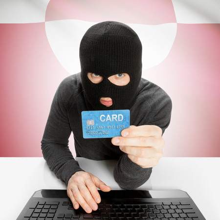 cybercrime: Cybercrime concept with flag - Greenland Stock Photo