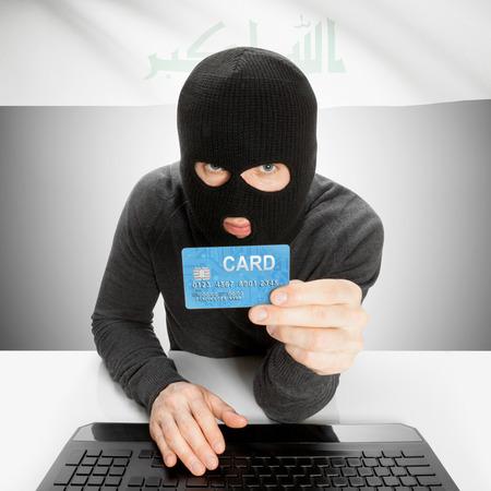 iraq money: Cybercrime concept with flag - Iraq