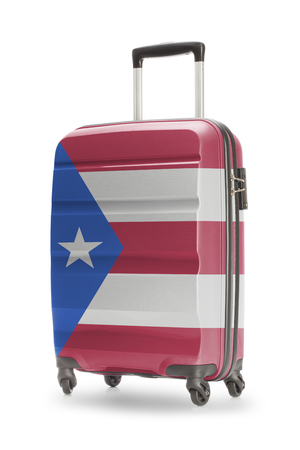 puerto rico: Suitcase painted into national flag - Puerto Rico
