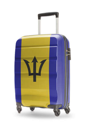 barbadian: Suitcase painted into national flag - Barbados