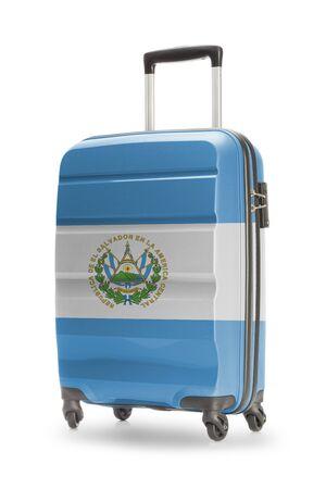 el salvadoran: Suitcase painted into national flag - El Salvador