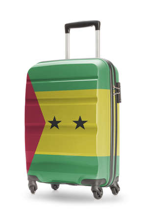 tome: Suitcase painted into national flag - Sao Tome and Principe