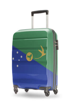 christmas budget: Suitcase painted into national flag - Christmas Island Stock Photo