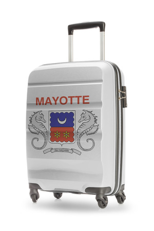 mayotte: Suitcase painted into national flag - Mayotte