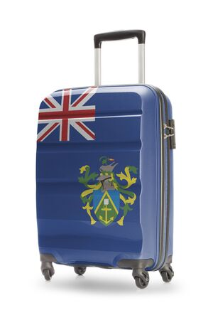 pitcairn: Suitcase painted into national flag - Pitcairn Island Stock Photo