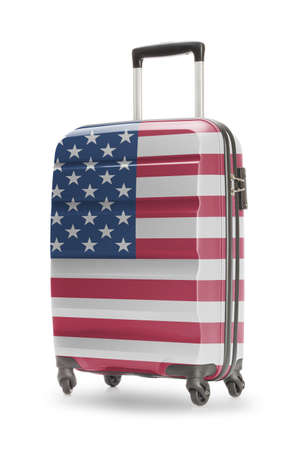 suitcase packing: Suitcase painted into national flag - United States