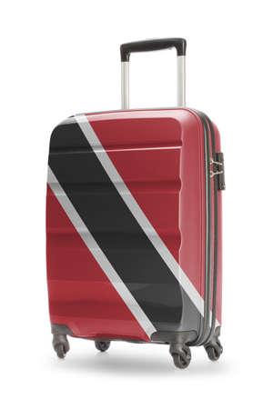 national flag trinidad and tobago: Suitcase painted into national flag - Trinidad and Tobago