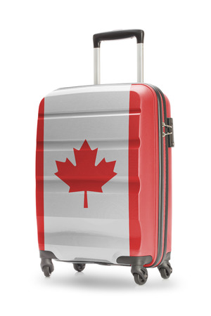 Suitcase painted into national flag - Canada