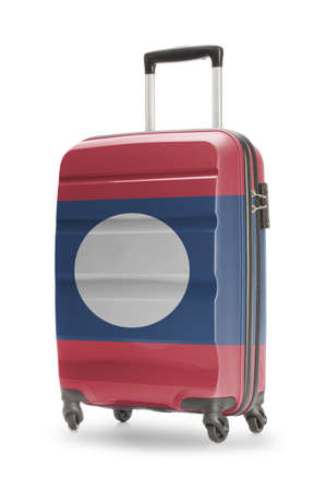 laotian: Suitcase painted into national flag - Laos