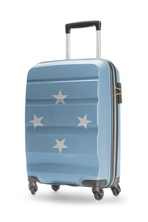 micronesia: Suitcase painted into national flag - Micronesia