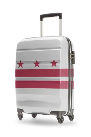 district columbia: Suitcase painted into US state flag - District of Columbia