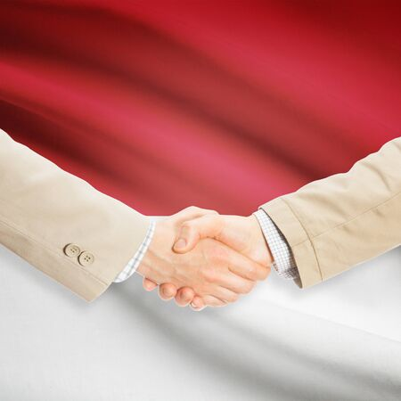 monegasque: Businessmen shaking hands with flag on background - Monaco