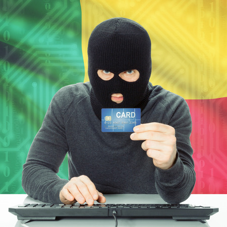 benin: Cybercrime concept with flag on background - Benin Stock Photo