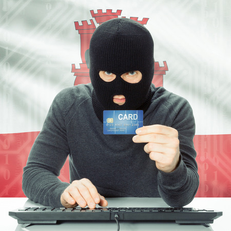 cybercrime: Cybercrime concept with flag on background - Gibraltar