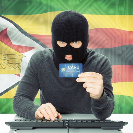 cybercrime: Cybercrime concept with flag on background - Zimbabwe