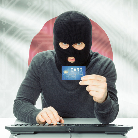 cybercrime: Cybercrime concept with flag on background - Japan