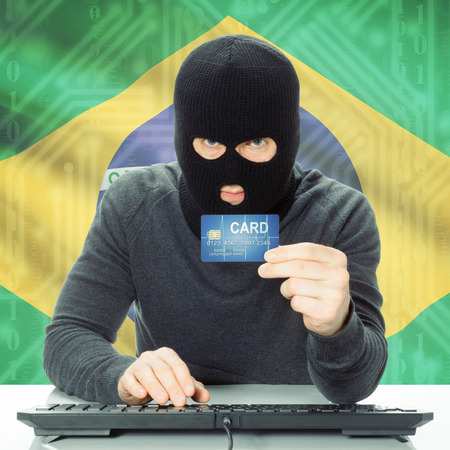 law of brazil: Cybercrime concept with flag on background - Brazil