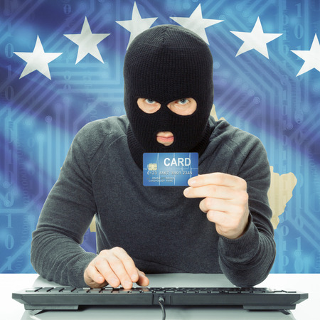 cybercrime: Cybercrime concept with flag on background - Kosovo
