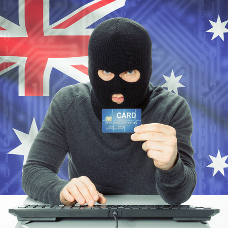 cybercrime: Cybercrime concept with flag on background - Australia