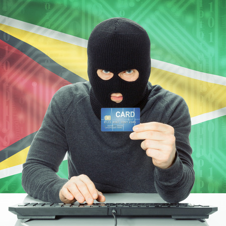 cybercrime: Cybercrime concept with flag on background - Guyana