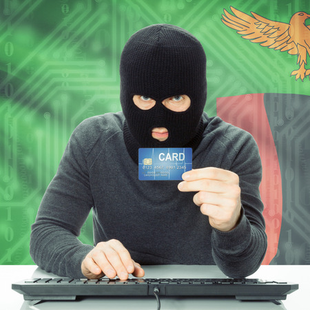 zambia: Cybercrime concept with flag on background - Zambia