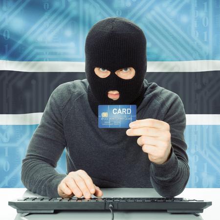 botswanan: Cybercrime concept with flag on background - Botswana