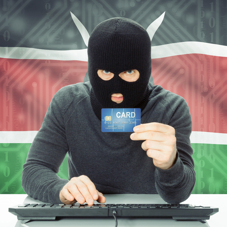 cybercrime: Cybercrime concept with flag on background - Kenya Stock Photo
