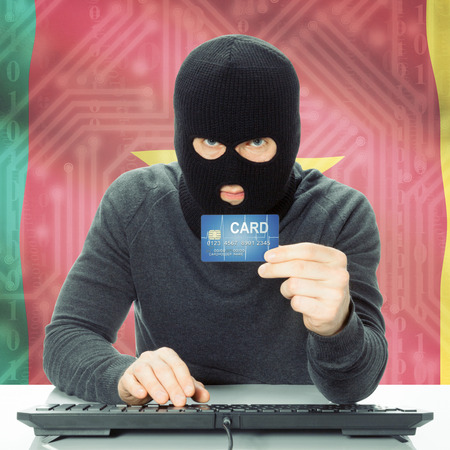 cameroonian: Cybercrime concept with flag on background - Cameroon Stock Photo