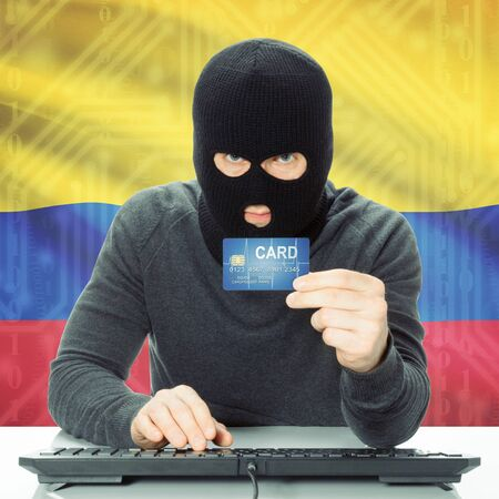 cybercrime: Cybercrime concept with flag on background - Colombia