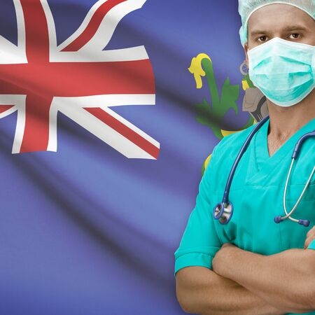 pitcairn: Surgeon with flag on background - Pitcairn Island
