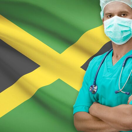 jamaica: Surgeon with flag on background - Jamaica