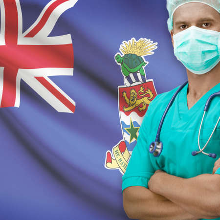 cayman: Surgeon with flag on background - Cayman Islands