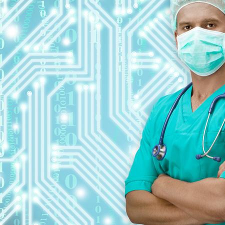 dark skinned: Dark skinned surgeon with circuit on background