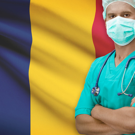 chadian: Surgeon with flag on background - Chad Stock Photo