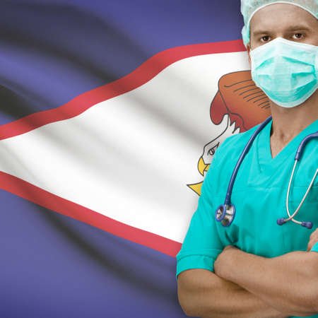 samoa: Surgeon with flag on background - American Samoa Stock Photo