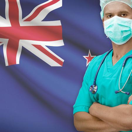 bandera de nueva zelanda: Surgeon with flag on background - New Zealand Foto de archivo