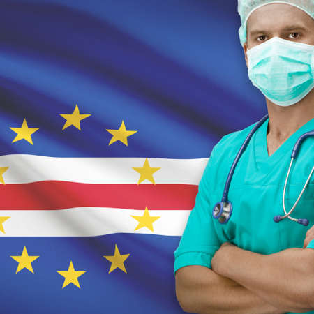 an        verde: Surgeon with flag on background - Cape Verde Stock Photo