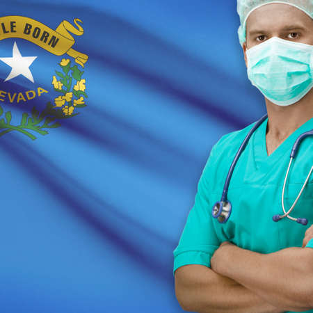 nevada: Surgeon with USA states flags on background - Nevada
