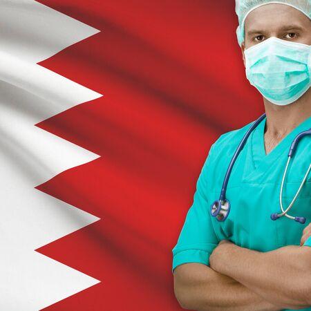 bahrain: Surgeon with flag on background - Bahrain