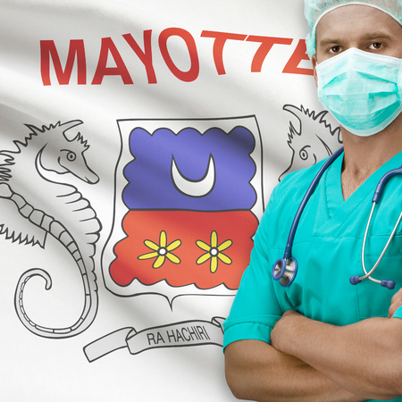mayotte: Surgeon with flag on background - Mayotte