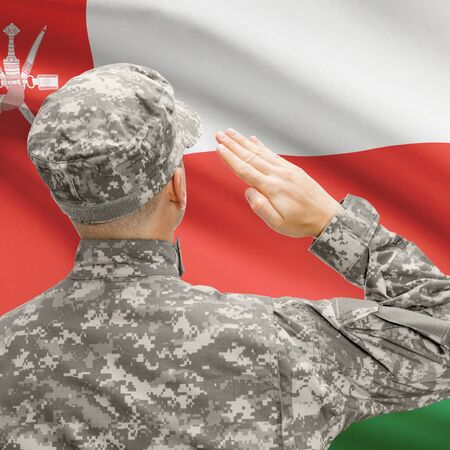 oman background: National military forces with flag on background conceptual series - Oman