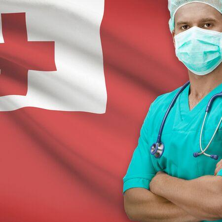 tonga: Surgeon with flag on background - Tonga