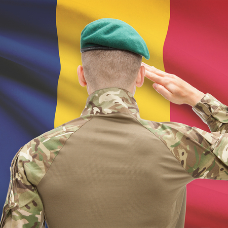 chadian: Soldier in hat facing national flag series - Chad