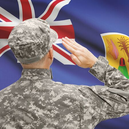 the turks: National military forces with flag on background conceptual series - Turks and Caicos Islands Stock Photo