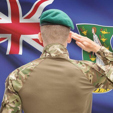 virgin islands: Soldier in hat facing national flag series - British Virgin Islands Stock Photo