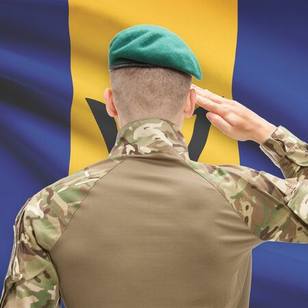 barbadian: Soldier in hat facing national flag series - Barbados